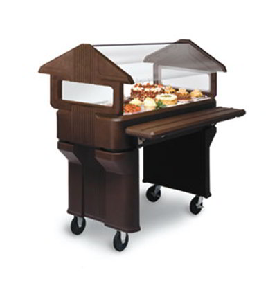 Carlisle 660501 Portable Food Bar - (3)Full-Size Pan Capacity, Polyethylene, Brown