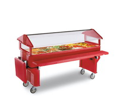 Carlisle 660805 Youth Portable Food Bar - (5)Full-Size Pan Capacity, Polyethylene, Red