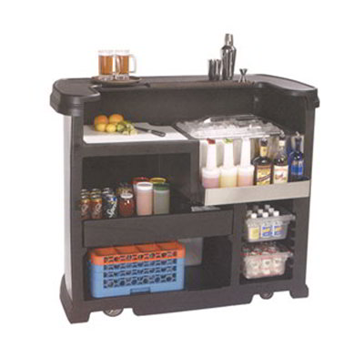 "Carlisle 755003 56"" Portable Bar - 15-gal Ice Bin, Polyethylene, Black"