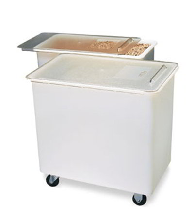 Carlisle BIN4402 44-gal Mobile Ingredient Bin - Polyethylene, Clear/White
