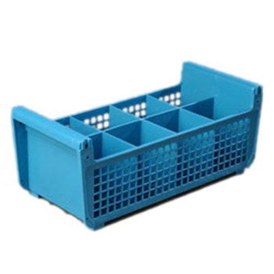 Carlisle C32P114 Flatware Basket - (8)Compartments, Open Design, Polypropylene, Blue