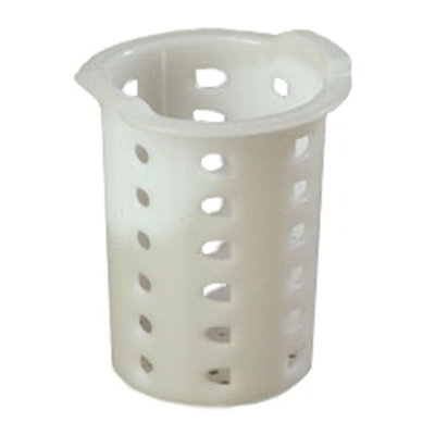 "Carlisle C35P02 3-11/16"" Flatware Cylinder - Meshed Bottom, Polypropylene, White"