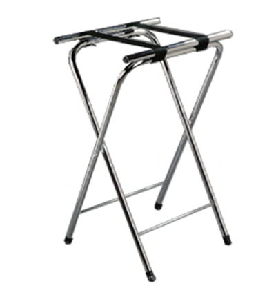 "Carlisle C362538 Folding Tray Stand - 19-1/4x15x31-1/2""(2)Black Straps, Chrome"
