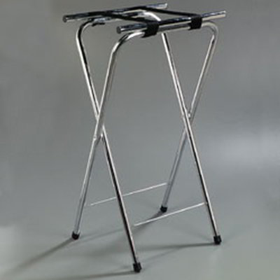 "Carlisle C3625T38 Folding Tray Stand - 19x16x36"" (2)Black Straps, Chrome"
