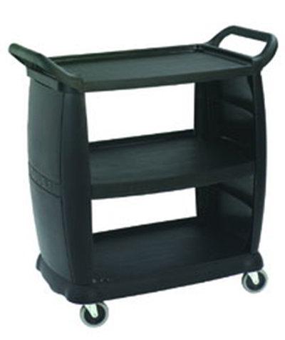 Carlisle CC203603 Bus Cart - 300-lb Capacity, 3-Textured Shelves, Polypropylene, Black