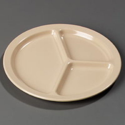 "Carlisle KL10225 10"" Kingline (3)Compartment Plate - Melamine, Tan"