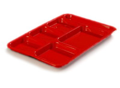 "Carlisle P614R05 Rectangular (6)Compartment Tray - Right-Handed, 14-3/8x10"" Poly, Red"