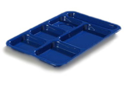 "Carlisle P614R14 Rectangular (6)Compartment Tray - Right-Handed, 14-3/8x10"" Poly, Blue"