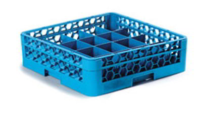 Carlisle RC16114 Full-Size Dishwasher Cup Rack - 16-Compartments, 1-Extender, Blue