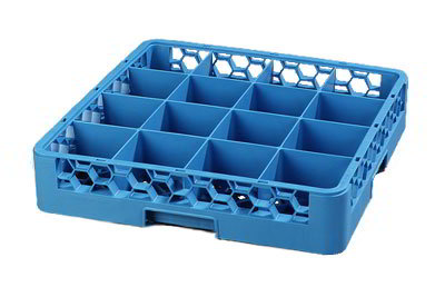 Carlisle RC1614 Full-Size Dishwasher Cup Rack - 16-Compartments, Blue