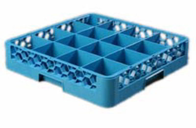 Carlisle RG1614 Full-Size Dishwasher Glass Rack - 16-Compartments, Textured Blu