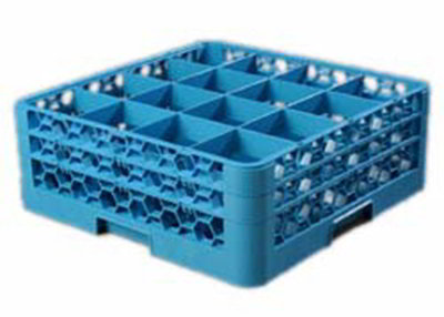 Carlisle RG16-214 Full-Size Dishwasher Glass Rack - 16-Compartments, 2-Extenders, Blue