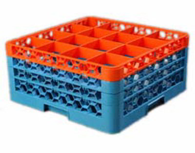 Carlisle RG163C412 Full-Size Dishwasher Glass Rack - 16-Compartments, 3-Extenders, Orange/Blue