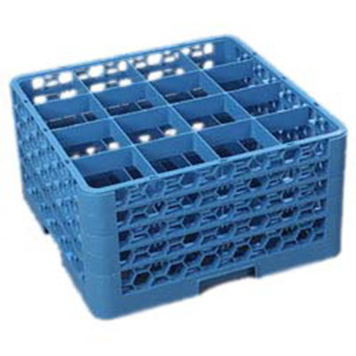 Carlisle RG16414 Full-Size Dishwasher Glass Rack - 16-Compartments, 4-Extenders, Blue