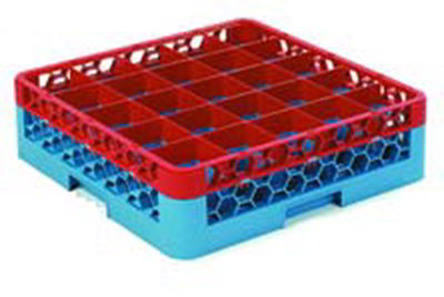 Carlisle RG251C410 Full-Size Dishwasher Glass Rack - 25-Compartments, 1-Extender, Red/Blue