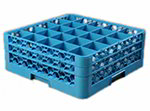 Carlisle RG25-214 Full-Size Dishwasher Glass Rack - 25-Compartments, 2-Extenders, Blue