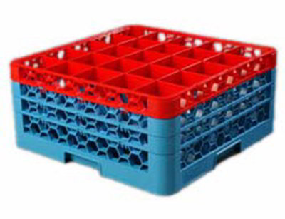 Carlisle RG253C410 Full-Size Dishwasher Glass Rack - 25-Compartments, 3-Extenders, Red/Blue