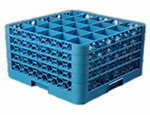 Carlisle RG25414 Full-Size Dishwasher Glass Rack - 25-Compartments, 4-Extenders, Blue