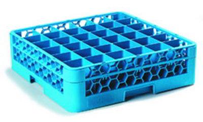Carlisle RG36-114 Full-Size Dishwasher Glass Rack - 36-Compartments, 1-Extender, Blue