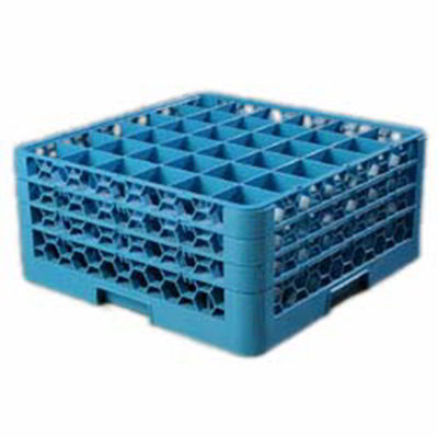 Carlisle RG36314 Full-Size Dishwasher Glass Rack - 36-Compartments, 3-Extenders, Blue