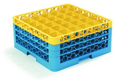 Carlisle RG363C411 36-Compartment Glass Rack, 7-9/10-in H, 3-Extender, Yellow/Blue