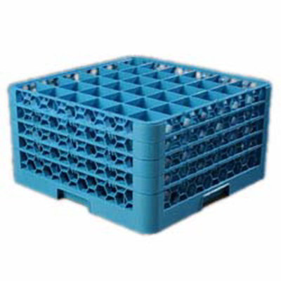 Carlisle RG36414 Full-Size Dishwasher Glass Rack - 36-Compartments, 4-Extenders, Blue