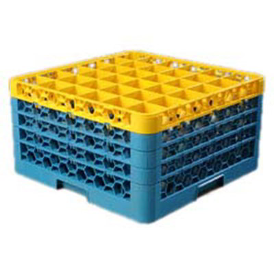 Carlisle RG364C411 Full-Size Dishwasher Glass Rack - 36-Compartments, 4-Extenders, Yellow/Blue