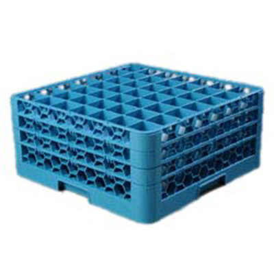 Carlisle RG49314 Full-Size Dishwasher Glass Rack - 49-Compartments, 3-Extenders, Blue