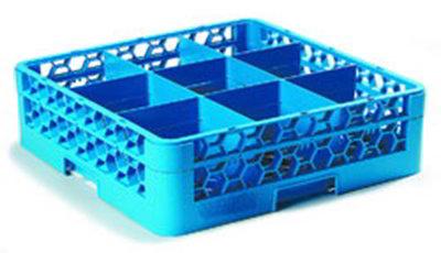 Carlisle RG9114 Full-Size Dishwasher Glass Rack - 9-Compartments, 1-Extender, Blue