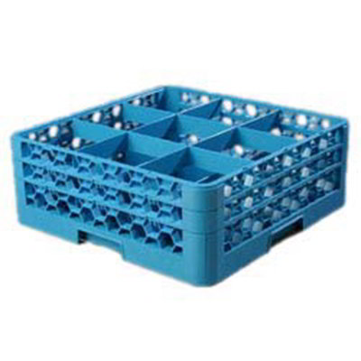 Carlisle RG9214 Full-Size Dishwasher Glass Rack - 9-Compartments, 2-Extenders, Blue