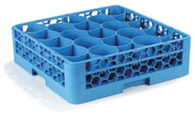 Carlisle RW2014 Full-Size Dishwasher Glass Rack - 20-Compartments, 1-Extender, Blue