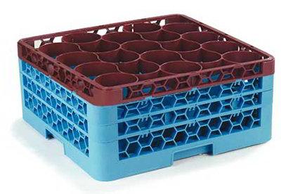 Carlisle RW203C437 20-Compartment Rack w/ 4-Extenders & 4-Handles, Blue/Burgundy