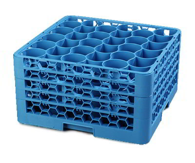 Carlisle RW30314 Full-Size Dishwasher Glass Rack - 30-Rounded Compartments, 4-Extenders, Blue