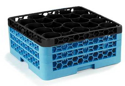 Carlisle RW303C436 30-Compartment Rack w/ 4-Extenders, Blue/Black
