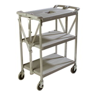 Carlisle SBC152123 Fold 'N Go Cart - 350-lb Capacity, (3)Shelves, Gray