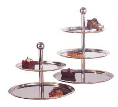 "Carlisle 609170 20"" Round Display Stand - (3)Tiers, Stainless"
