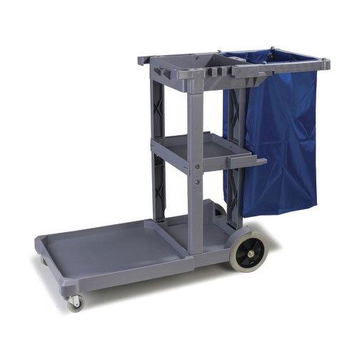 "Carlisle JC1945L23 Janitorial Cart with 22"" Platform - 3-Shelves, Polyethylene, Gray"