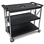 Carlisle SBC203103 Fold N Go Cart, Three Shelves, Large, Black