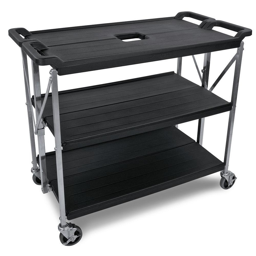 Carlisle SBC203103 Fold N Go Cart, Three Shelves, Large, Black