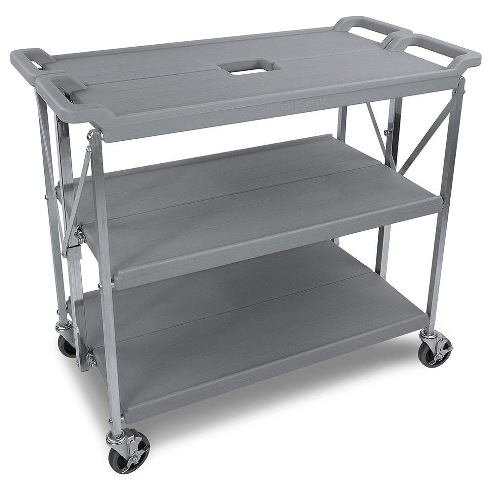 Carlisle SBC203123 Fold N Go Cart, Three Shelves, Large, Gray