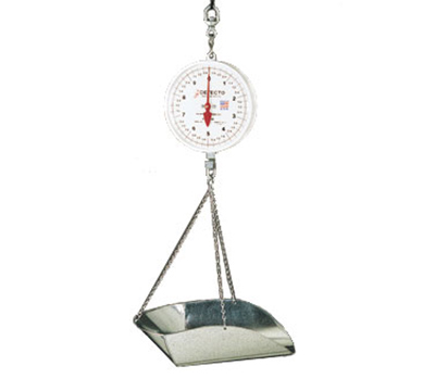 Detecto MCS-20P Dial Hanging Scale w/ Galvanized Scoop & Chains, 20-lb