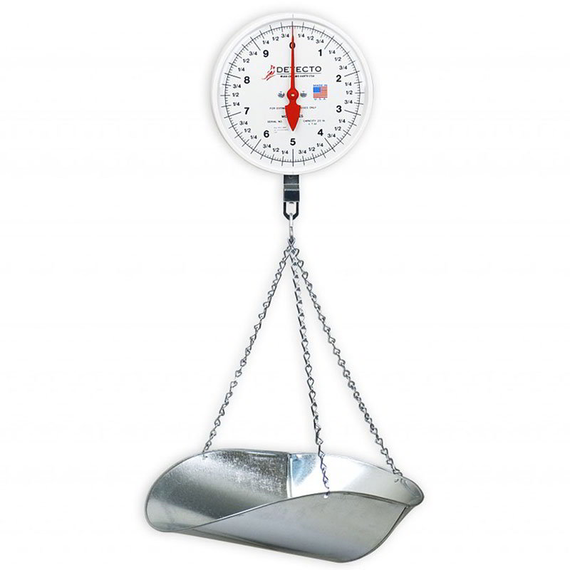 Detecto MCS10KGF Hanging Fish & Vegetable Dial Scale w/ Stainless Steel Pan, 10-kg Capacity
