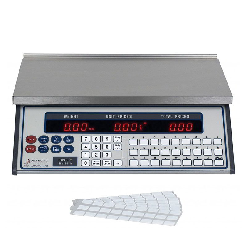 Detecto PC-30 Price Computing Digital Scale, 0.01 lb x 30 lb. Capacity