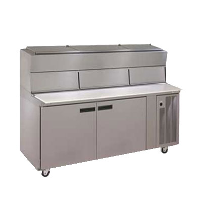 Delfield 18672PDL 72-in Refrigerated Pizza Table w/ 2-Doors, 18-Pan, Raised Rails