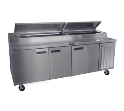 Delfield 18691PTBM 115 91-in Refrigerated Pizza Table w/ 3-Sections & 11-Pan Capacity, 115V