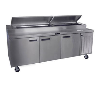 Delfield 18699PTBM 115 99-in Refrigerated Pizza Table w/ 3-Sections & 12-Pan Capacity, 11