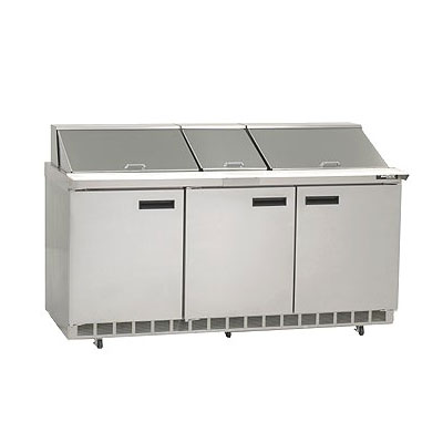 Delfield D4472N-30M 72 in Salad Top Refrigerator, 3 Section/6 Drawers, 30 Pans, Mega Top