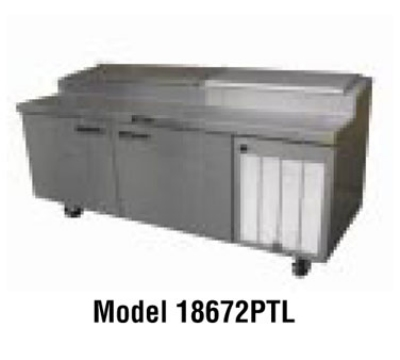 Delfield 18672PTL230 72-in Refrigerated Prep Table w/ 2-Doors & 18-Pan Capacity, 17.79-cu ft, Export