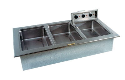 Delfield N8768ND Narrow Drop-In Hot Food Well w/ Drain, (3) 12 x 20-in Pan, Wet Or Dry