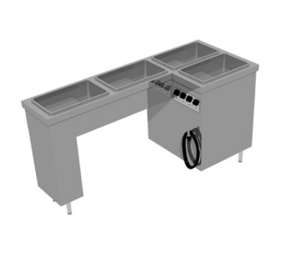 Delfield SLT4220 L-Shaped Heated Tray Make-Up Serving Counter w/ 4-Hot Food Wells, 220/1